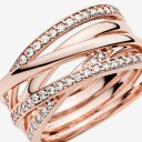 Pandora Sparkling & Polished Lines Ring Rose Gold