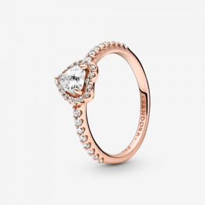 Pandora Sparkling Elevated Heart Ring