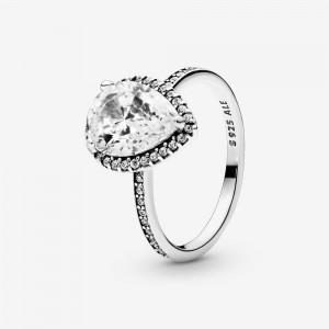 Pandora Sparkling Teardrop Halo Ring Silver