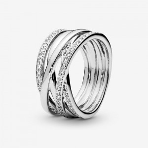 Pandora Sparkling & Polished Lines Ring Silver