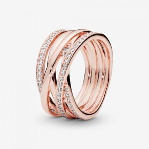 Pandora Sparkling & Polished Lines Ring Rose Gold
