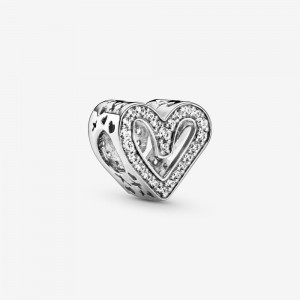 Pandora Sparkling Freehand Heart Charm Silver