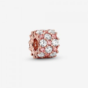 Pandora Pink & Clear Sparkle Charm Rose Gold
