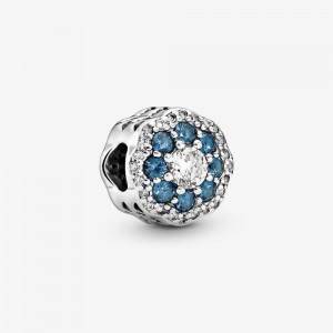 Pandora Blue Sparkle Flower Charm