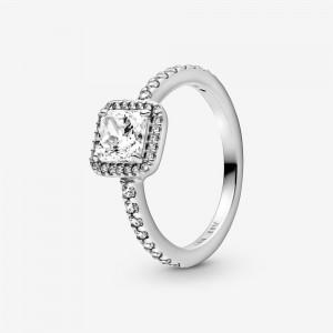 Pandora Square Sparkle Halo Ring Silver