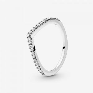 Pandora Sparkling Wishbone Ring Silver