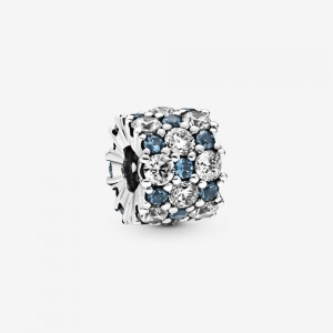 Pandora Blue and Clear Sparkle Charm Silver