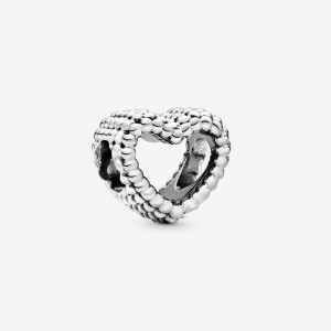 Pandora Beaded Open Heart Charm Silver