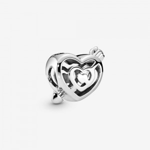 Pandora Openwork Heart Labyrinth & Arrow Charm