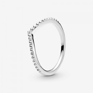 Pandora Beaded Wishbone Ring Silver