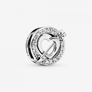 Pandora Asymmetrical Heart and Arrow Clip Charm
