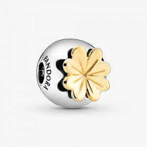 Pandora Lucky Four-Leaf Clover Clip Charm Two Tone