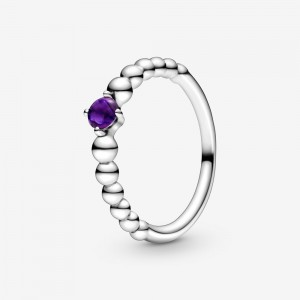 Pandora February Purple Beaded Ring Purple