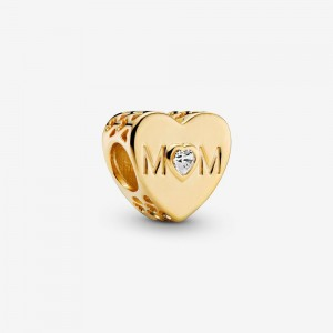 Pandora Clear Mom Heart Charm Gold