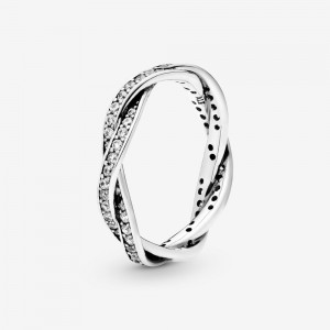 Pandora Sparkling Twisted Lines Ring Silver