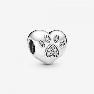 Pandora I Love My Pet Paw Print Heart Charm