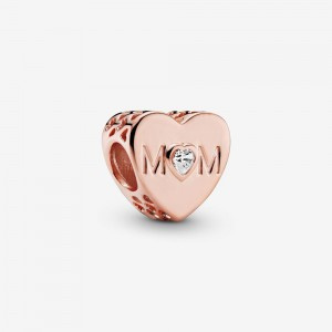 Pandora Clear Mom Heart Charm Rose Gold