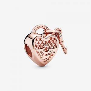 Pandora Love You Heart Padlock Charm Rose Gold