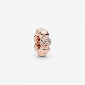 Pandora Polished & Pavé Bead Spacer Charm Rose Gold