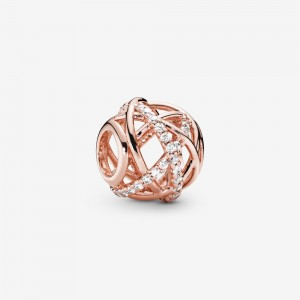 Pandora Sparkling & Polished Lines Charm Rose Gold