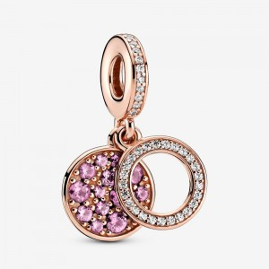 Pandora Sparkling Pink Disc Double Dangle Charm Rose Gold