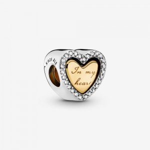 Pandora In My Heart Split Heart Charm Two Tone