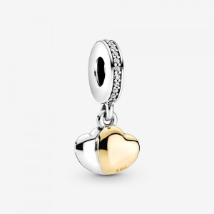 Pandora Two-Tone Double Heart Dangle Charm