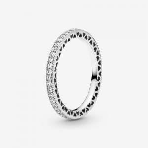 Pandora Sparkle & Hearts Ring Silver