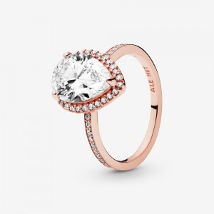 Pandora Sparkling Teardrop Halo Ring Rose Gold
