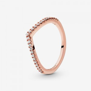 Pandora Sparkling Wishbone Ring Rose Gold
