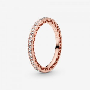 Pandora Sparkle & Hearts Ring Rose Gold
