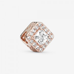 Pandora Square Sparkle Halo Charm Rose Gold