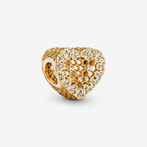 Pandora Heart Honeycomb Lace Charm
