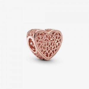 Pandora Filigree and Beaded Heart Charm Rose Gold