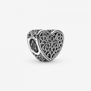 Pandora Filigree and Beaded Heart Charm Silver