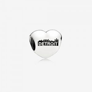 Pandora Detroit Motor City Heart Charm, Black Enamel