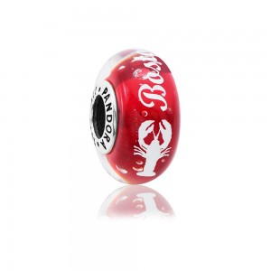 Pandora Boston Lobster Murano Charm, White Enamel