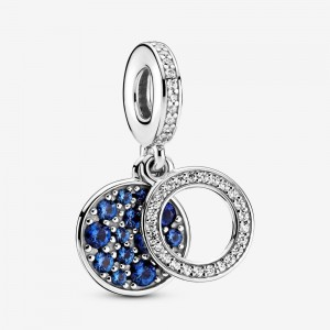 Pandora Sparkling Blue Disc Double Dangle Charm Silver
