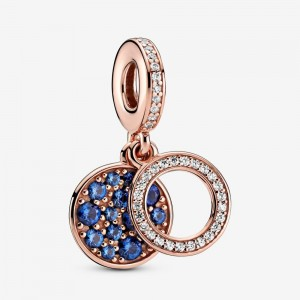 Pandora Sparkling Blue Disc Double Dangle Charm Rose Gold
