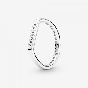 Pandora Logo Bar Stacking Ring Silver
