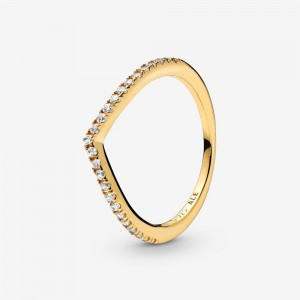 Pandora Sparkling Wishbone Ring Gold