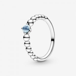 Pandora March Aqua Blue Beaded Ring Blue