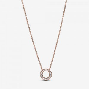 Pandora Pandora Logo Pavé Circle Collier Necklace Rose Gold