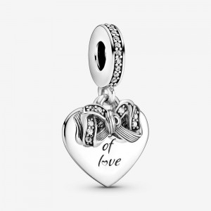 Pandora Bow & Love Heart Dangle Charm