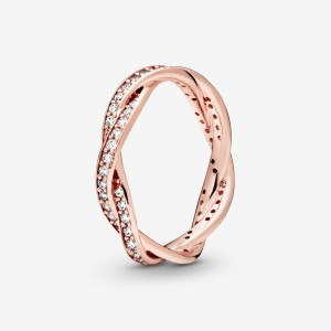 Pandora Sparkling Twisted Lines Ring Rose Gold