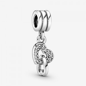 Pandora Interlocking Hearts Dangle Charm Silver