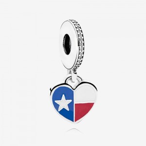 Pandora Texas Flag Heart Dangle Charm, Mixed Enamel
