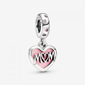 Pandora Mom Script Heart Dangle Charm