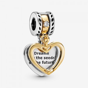 Pandora Seeds of the Future Split Heart Dangle Charm