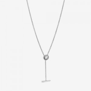Pandora Pavé Circle Logo T-bar Heart Necklace